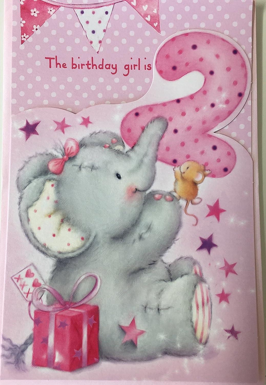 Happy 2nd Birthday Girl Elliot Buttons Birthday Greetings Card
