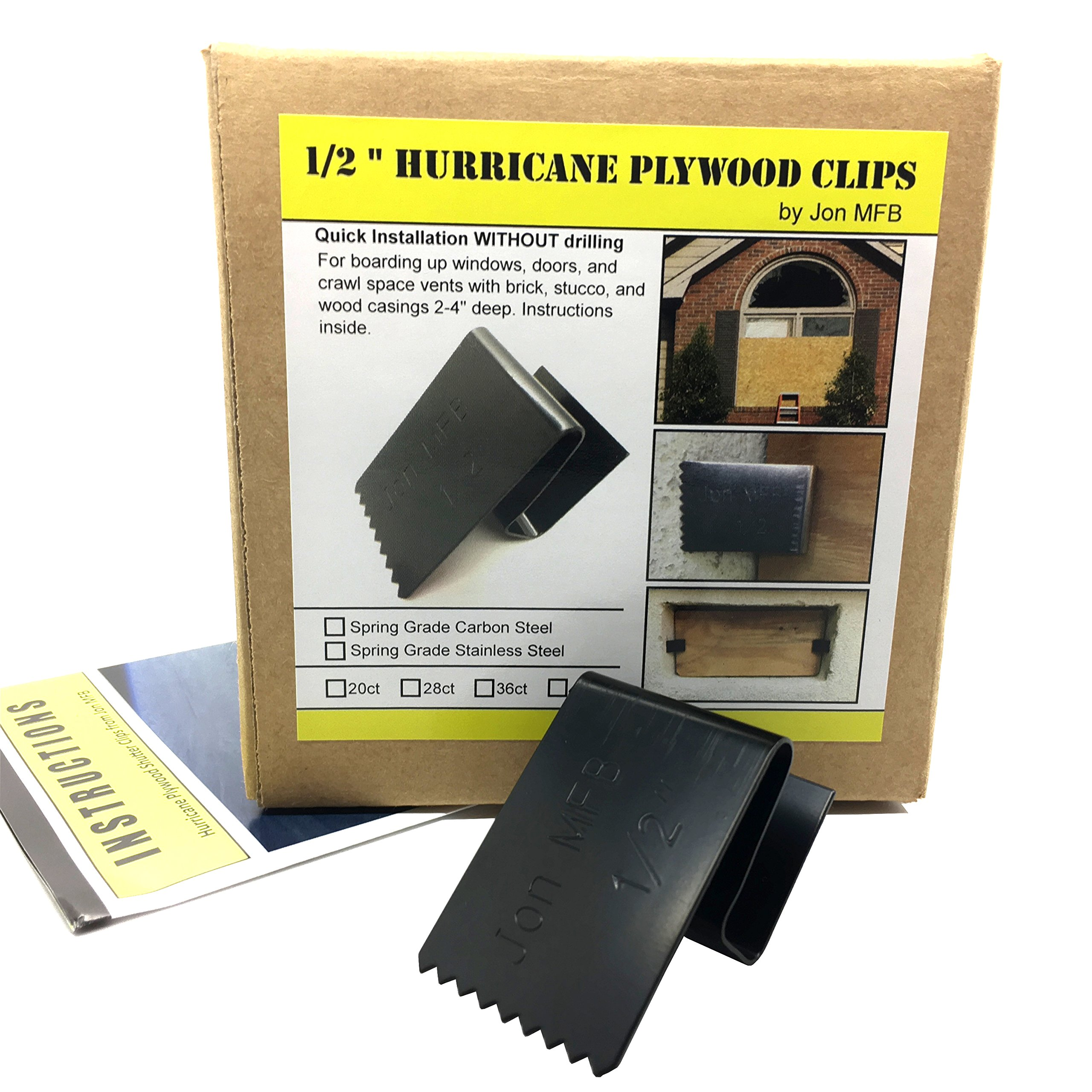 """1/2"""" Hurricane Plywood Clips to Shutter Windows, Spring Grade Carbon Steel - 20 Pack"""