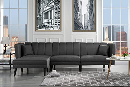 Mid Century Modern Style Linen Fabric Sleeper Futon Sofa, Living Room L  Shape Sectional Couch with Reclining Backrest (Dark Grey)