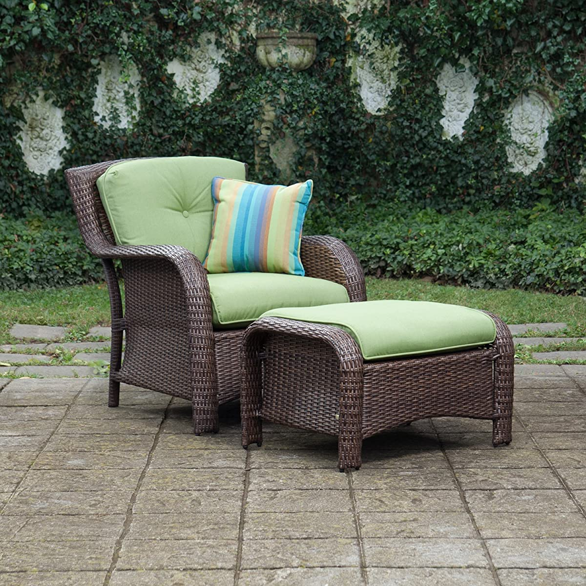 La-Z-Boy Outdoor Sawyer 6 Piece Resin Wicker Patio Furniture Conversation Set (Cilantro Green) With All Weather Sunbrella Cushions