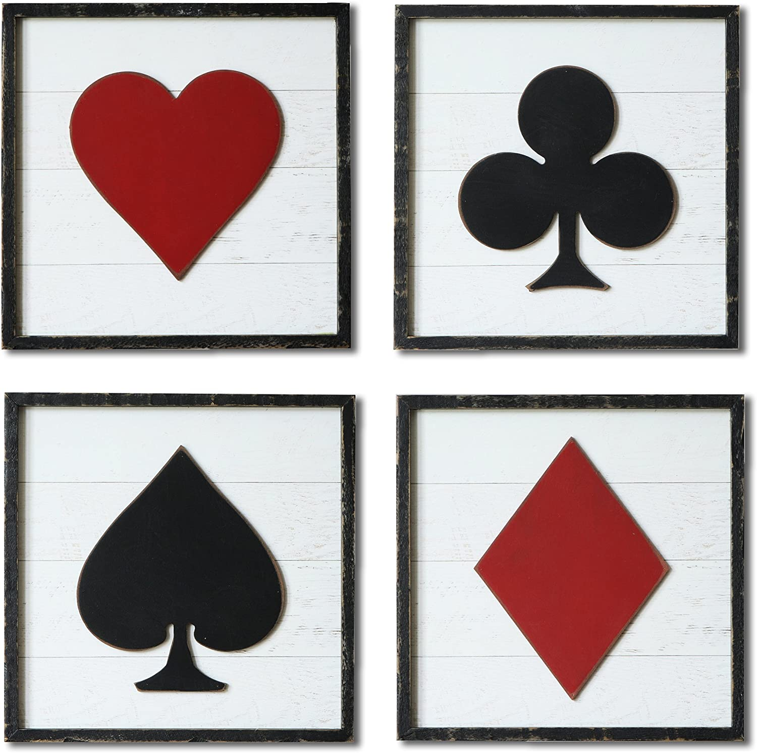 NIKKY HOME Wood Framed Poker Sign Square Wall Art (Set)