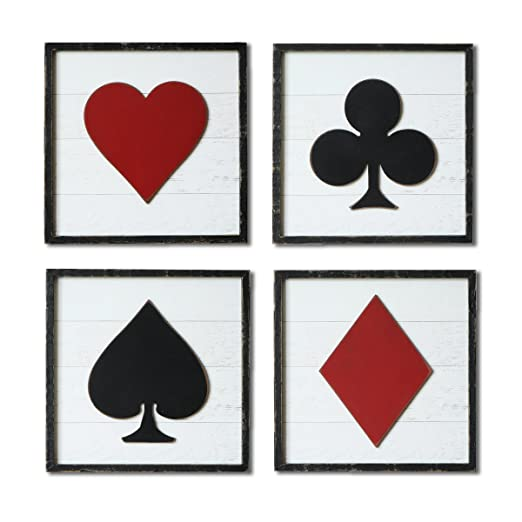 Amazon.com: Nikky Home Poker signo pared cuadrado arte con ...