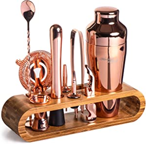 Mixology Bartender Kit: 10-Piece Copper Bar Set Cocktail Shaker Set with Stylish Bamboo Stand | Perfect Home Bartending Kit with Rose Gold Bar Tools and Martini Shaker for Foolproof Drink Mixing