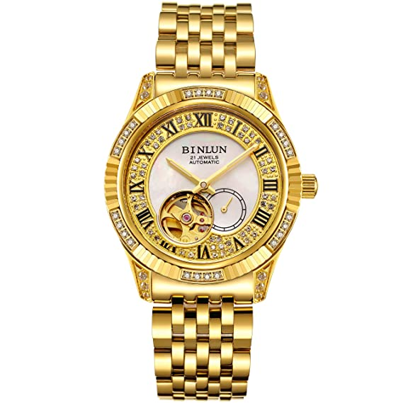 BINLUN 18 K Oro Hombres del Reloj de Pulsera Tourbillon mecánico automático Relojes: Amazon.es: Relojes