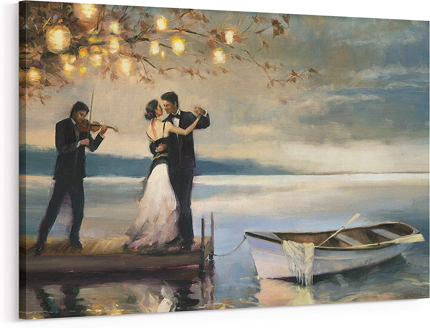 Twilight Romance Canvas Wall Art, Romantic Couple Dancing by Lake Oil Painting Wall Art Home Decor for Living Room Bedroom Gallery Wrapped, 20x30 Inch