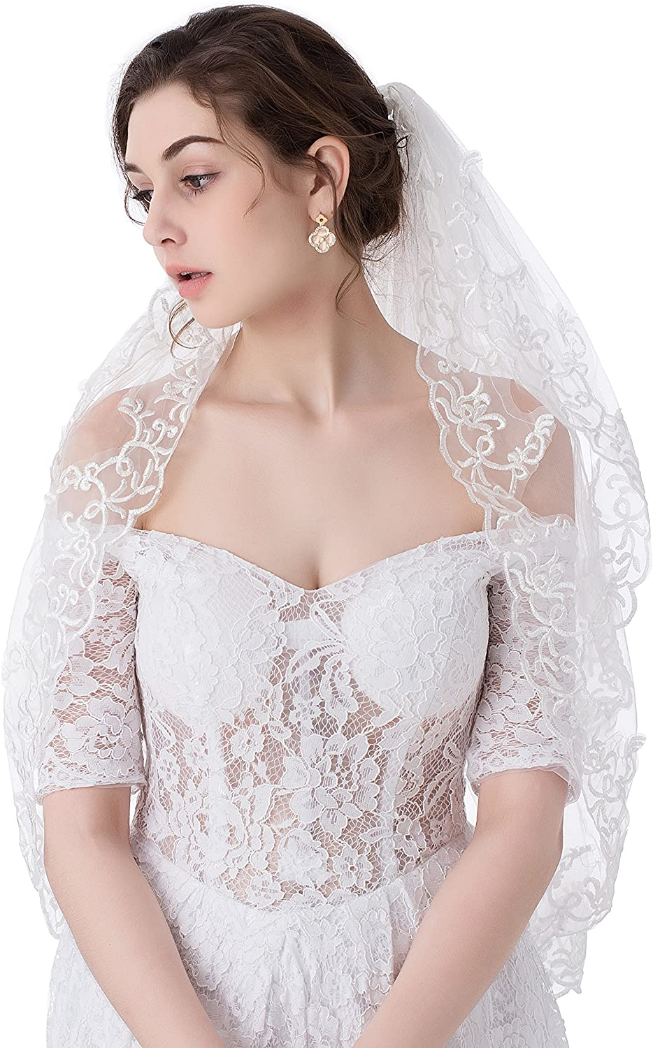 MariRobe 2 Tiers Embroidery Lace Edge Bridal Wedding Veils with Comb