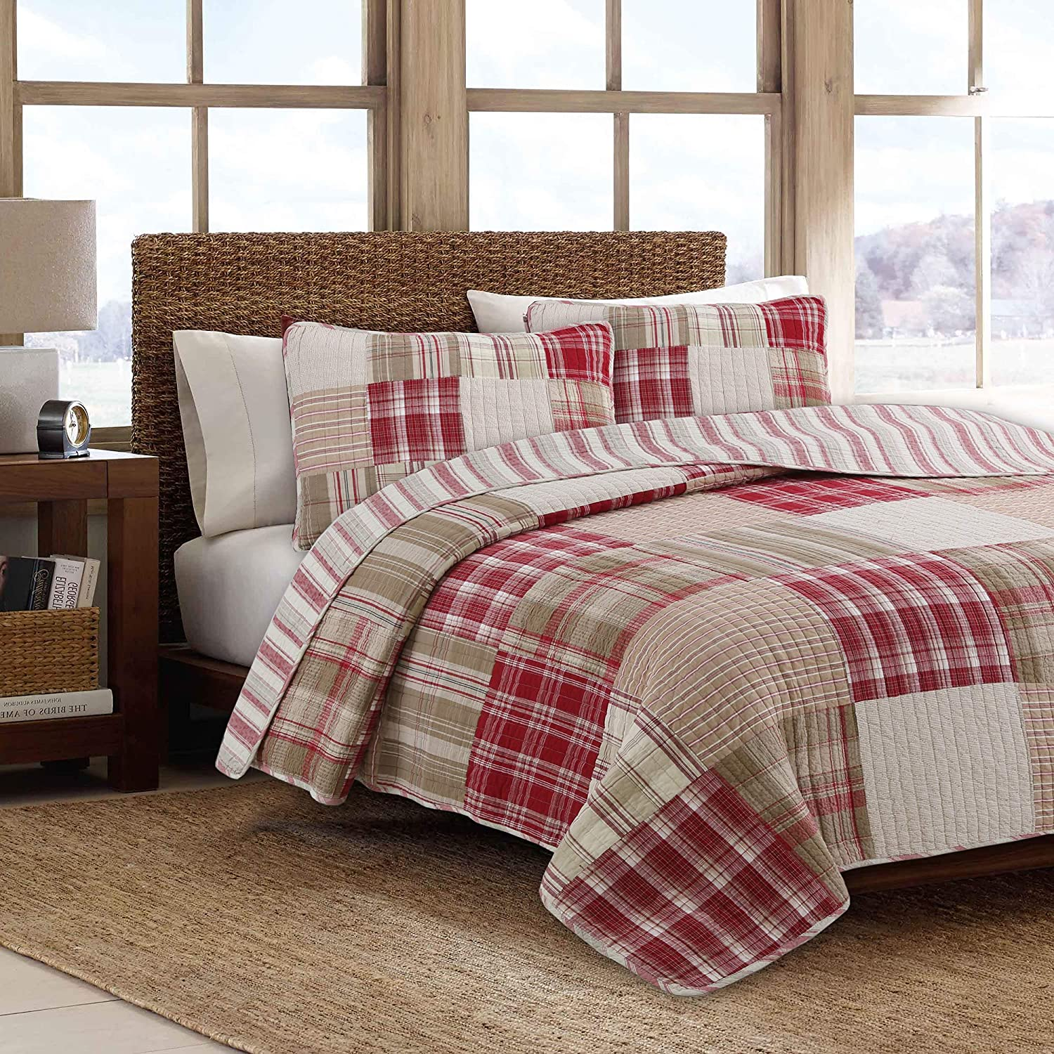 Cozy Line Home Fashions Alivia Red Brown Patchwork 100% Cotton Reversible Bedding Quilt Set (Alivia Patchwork, King - 3 Piece)