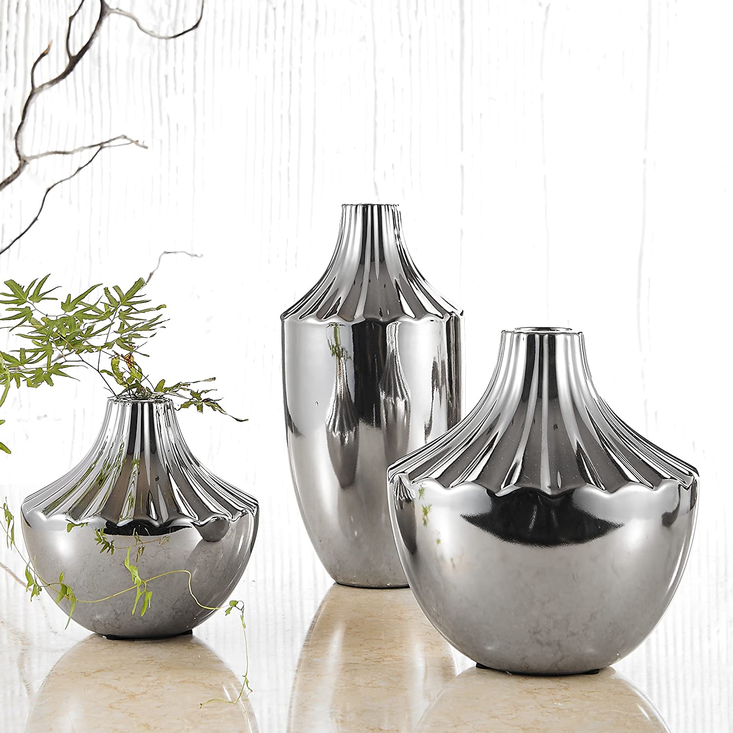 electroplated polished chrome silver ceramic decoration flower vase set of 3 ebay. Black Bedroom Furniture Sets. Home Design Ideas