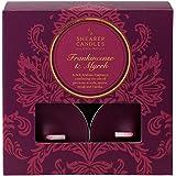 Shearer Candles Victorian Winter SN1768 - Velas de té (incienso y mirra, 8 unidades), color vino tinto