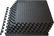 "ProSource Puzzle Exercise Mat 13 mm (½""), EVA Foam Interlocking Tiles Protective Flooring for Gym Equipment and Cushion for W"