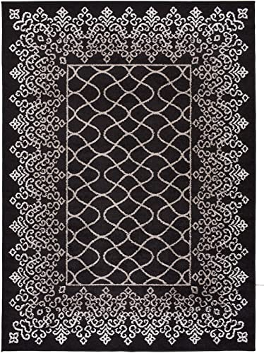 Designer Collection Trellis Lace Design Contemporary Modern Area Rug Rugs 2 Different Color Options Black, 7 10 x9 10