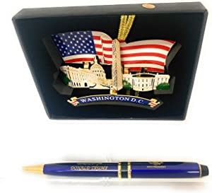 President Donald Trump Signature Presidential Pen and American Flag Christmas Ornament with Washington DC monuments set (2)
