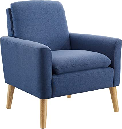 Modern Accent Chair, Single Sofa Linen Fabric Armchair, Great for Living Room, Office, Studio, Apartment, or Guest Room by Bliss Brands (Blue)
