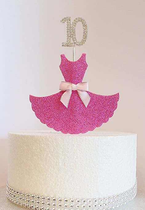 10th Birthday Cake Decoration Pink Dress With Diamante Crystal Number Non Edible Amazoncouk Kitchen Home