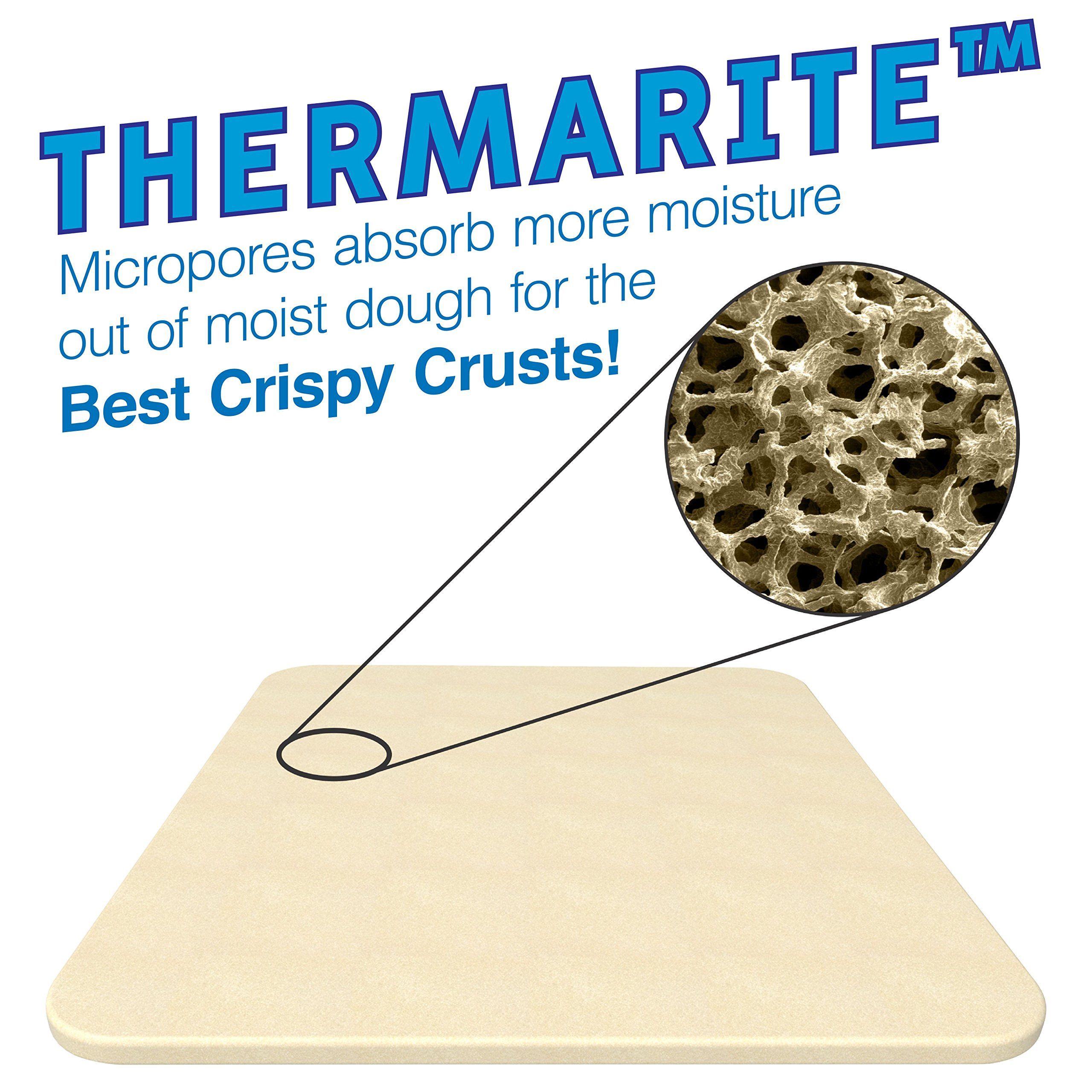 Pizza Stone for Best Crispy Crust Pizza, Only Stoneware with Thermarite (Engineered Tuff Cordierite). Durable, Certified Safe, Ovens & Grills 14 x 16 Rectangular, Bonus Recipe Ebook & Free Scraper by CastElegance (Image #8)