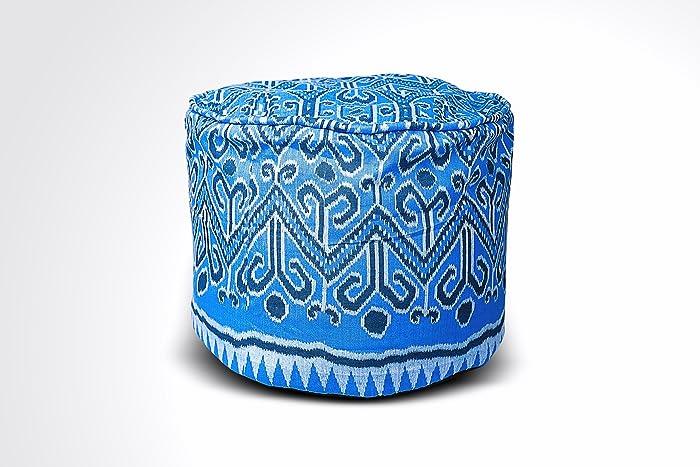 Awesome Amazon Com Round Ikat Pouf Ottoman Blue White Ethnic Machost Co Dining Chair Design Ideas Machostcouk