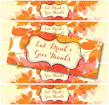 24 waterproof holiday bottle labels halloween thanksgiving christmas eat drink give - Halloween Thanksgiving Christmas