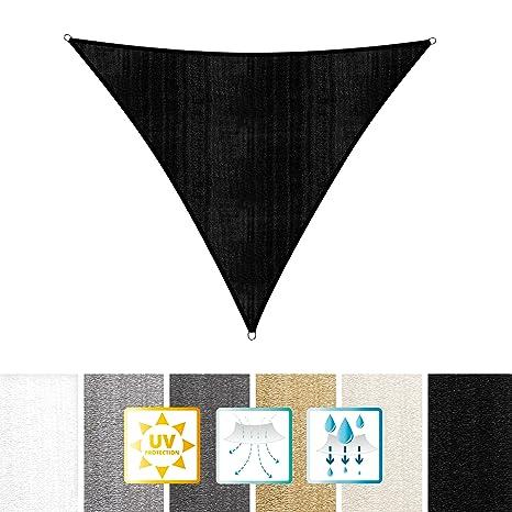 Lumaland toldo Vela de Sombra 100% Polietileno de Alta Densidad Filtro UV Incl Cuerdas Nylon 4x4x4 Negro
