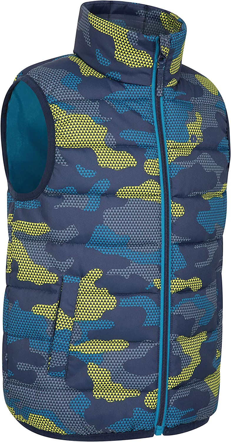 Microfibre Padded Winter Vest Mountain Warehouse Rocko Kids Padded Gilet Water Resistant Rain Coat Body Warmer for Boys /& Girls Two Front Pockets Childrens Jacket