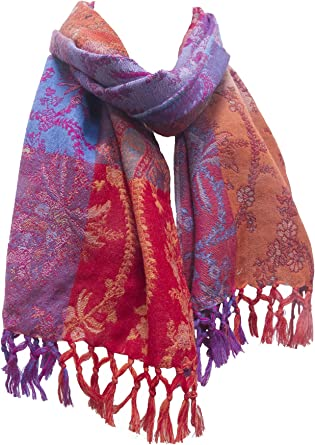 PAISLEY PASHMINA CASHMERE SCARF SHAWL WRAP STOLE BURNT ORANGE ALL SEASON WEAR
