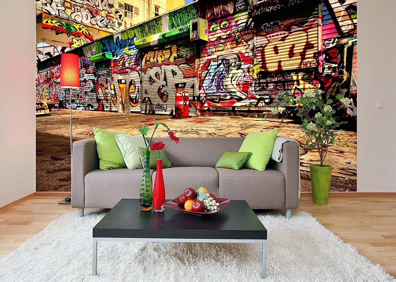 Removable Wallpaper Mural Peel & Stick Graffiti (83H X 124W)