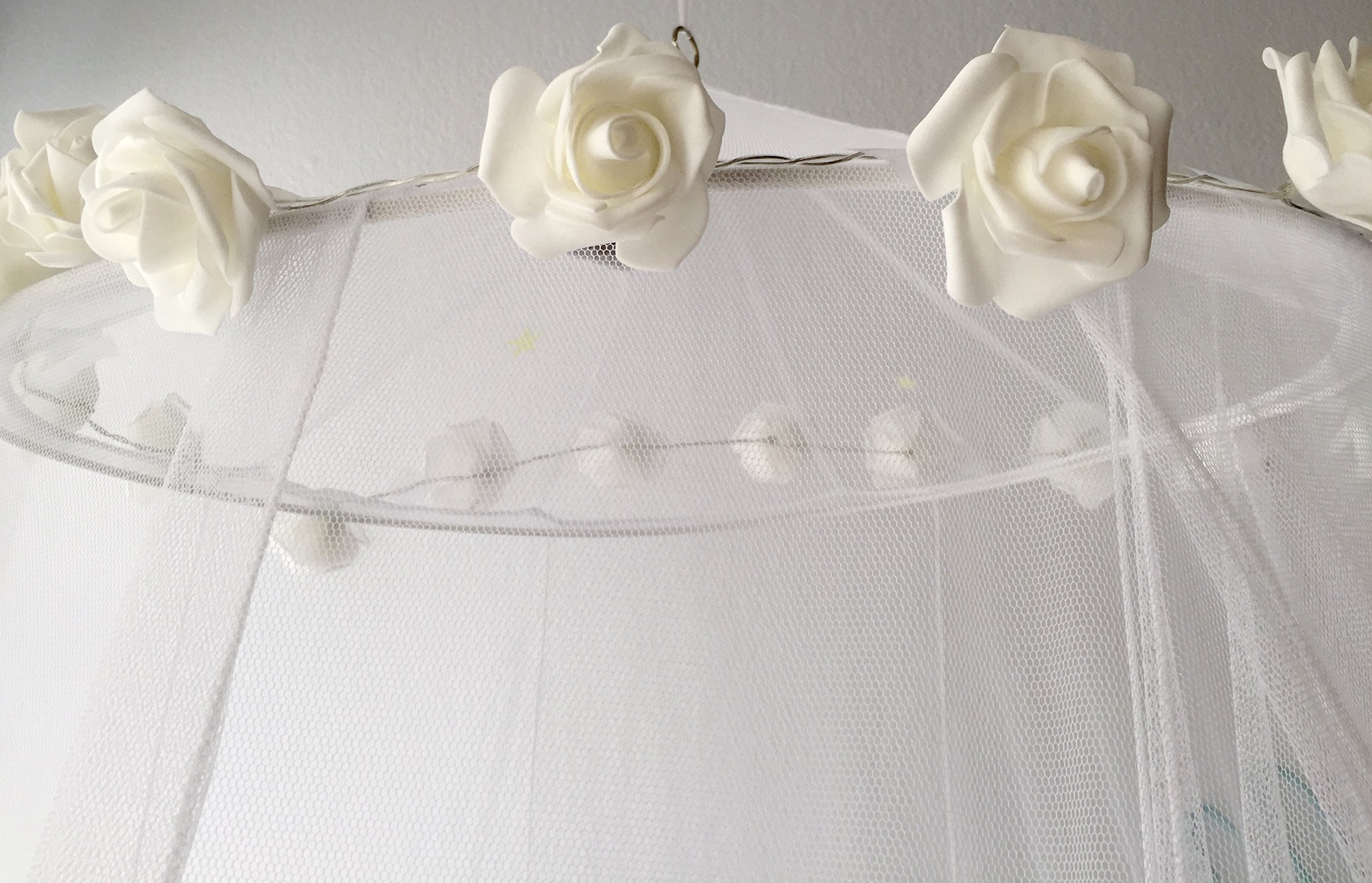 Princess Bed Canopy Girls Teens Kids - Child Play Tent | Includes Bedroom Netting and White Rose LED Lights | Extra Large Size Fits Queen | Sleep Under Our Bed of Roses