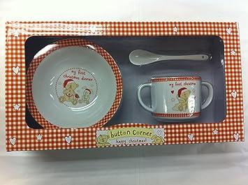 Button Corner My 1st First Christmas Babyu0027s Ceramic Dinner Set - Bowl Mug Spoon & Button Corner My 1st First Christmas Babyu0027s Ceramic Dinner Set ...