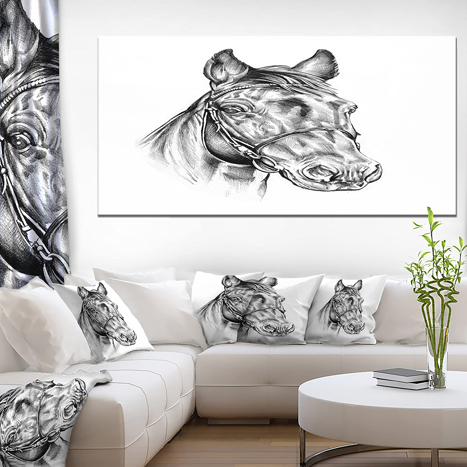 Designart Freehand Horse Head Pencil Drawing Canvas Wall Artwork 28 X 60 X 2 White Posters Prints