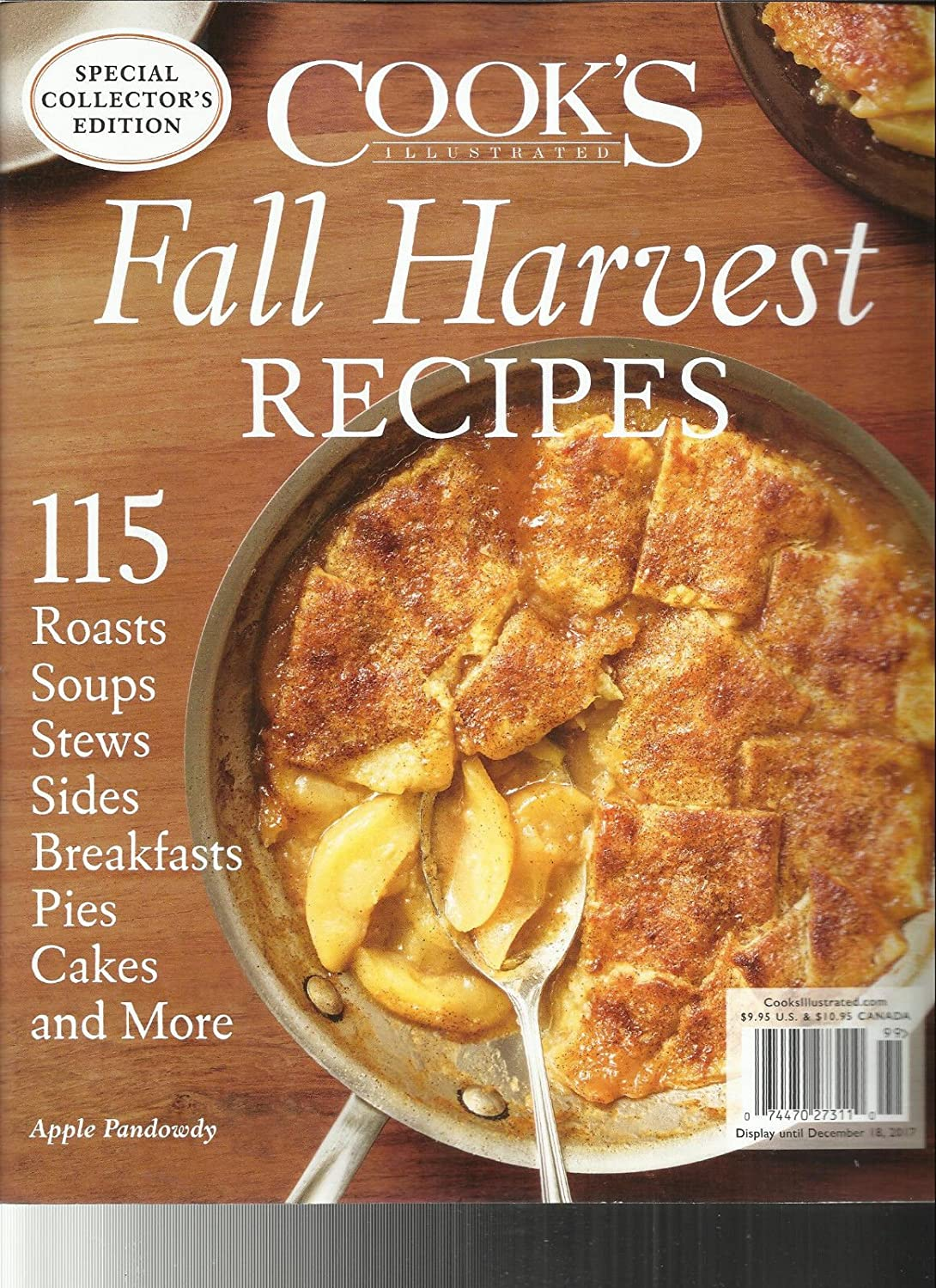 COOK'S ILLUSTRATED MAGAZINE, FALL HARVEST RECIPES SPECIAL COLLECTOR'S EDITION, 2017 s3457