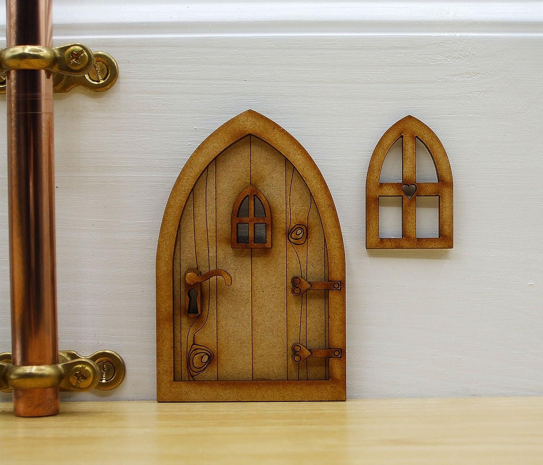 Kit de manualidades Puerta de hadas 3d de madera rústico con ventana ...