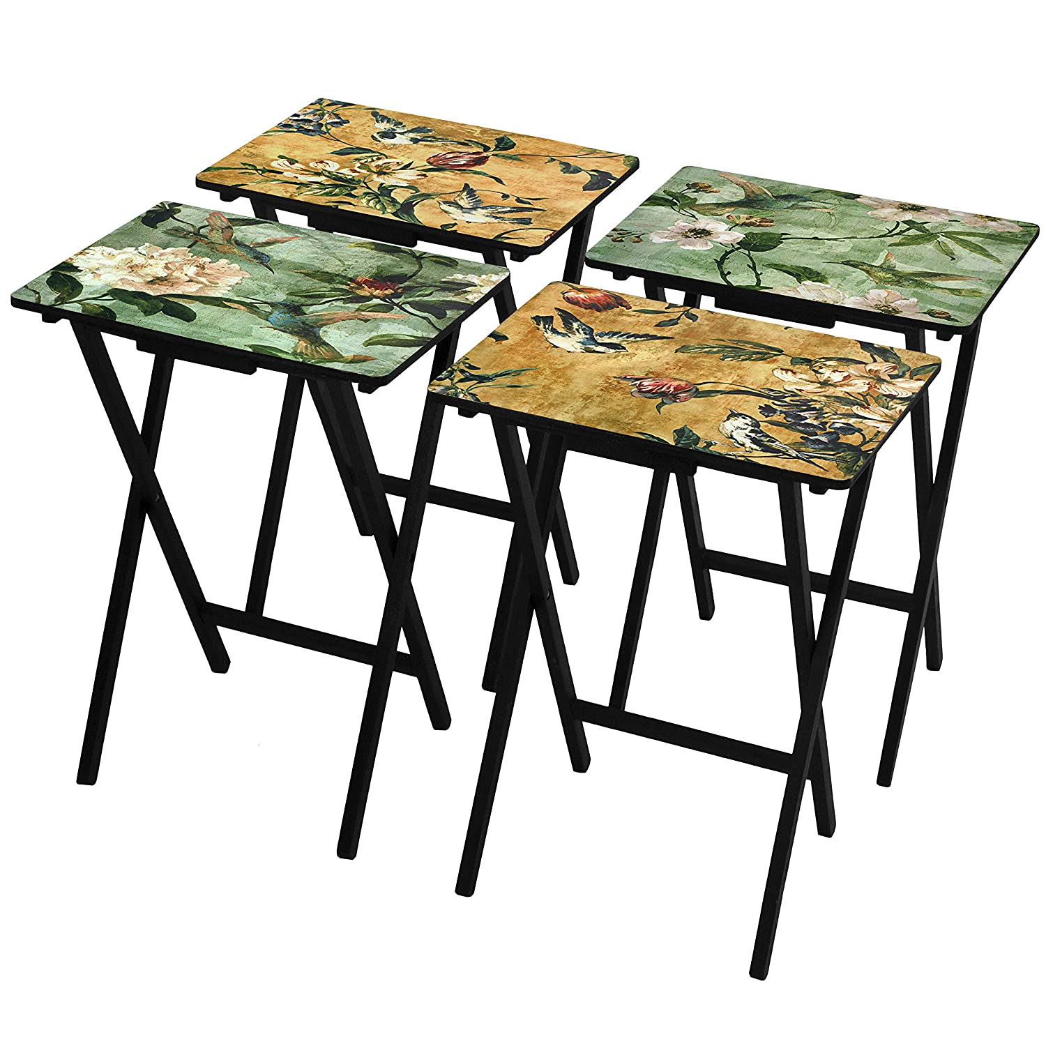 ORIENTAL FURNITURE Birds and Flowers TV Tray Set with Stand CAN-TVSET-BIRDS