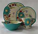 LG Dinnerware Set 16-piece - Turquoise Blue & Amazon.com | Gourmet Basics by Mikasa Zinnia Garden 16-Piece ...