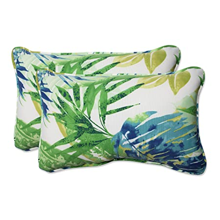 Pillow Perfect Outdoor Indoor Soleil Rectangular Throw Pillow Set of 2 , Blue Green