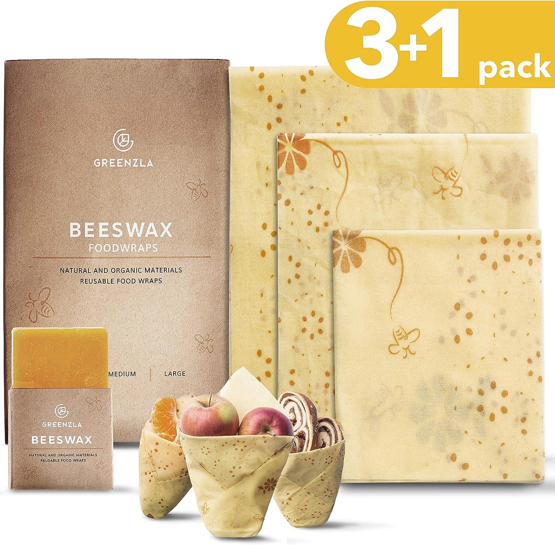 Envoltura de cera de abejas reutilizable Greenzla (Set de 3 + barra de cera extra) - Envoltorios de algodón orgánico y almacenamiento para sándwiches, bocadillos. 1 Pequeño,1 Mediano y 1 Grande: Amazon.es: Hogar
