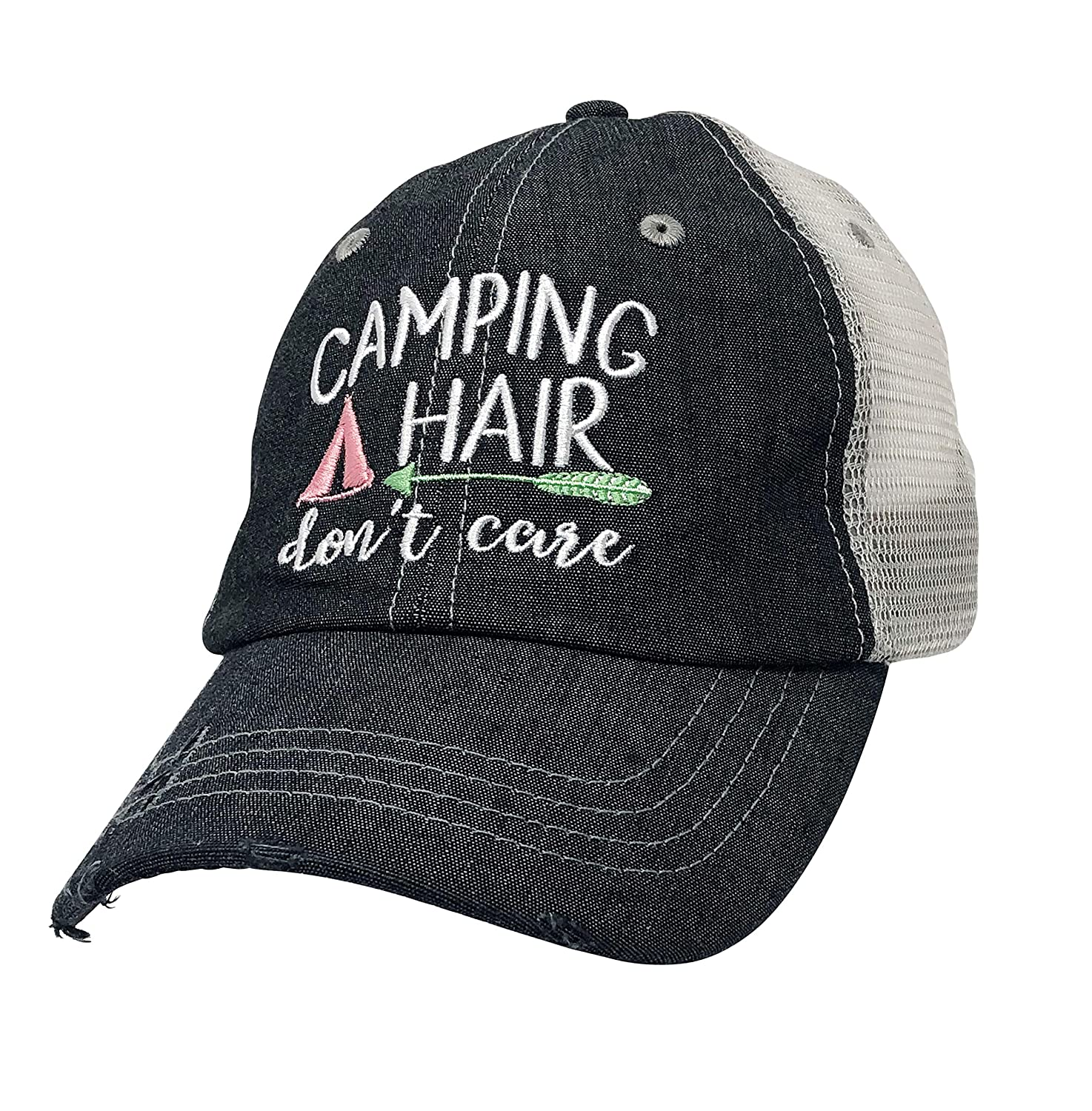 Xoxo, Coco Camping Hair Don't Care Embroidered Grey Distressed Hat Mesh Trucker Style Hat Cap