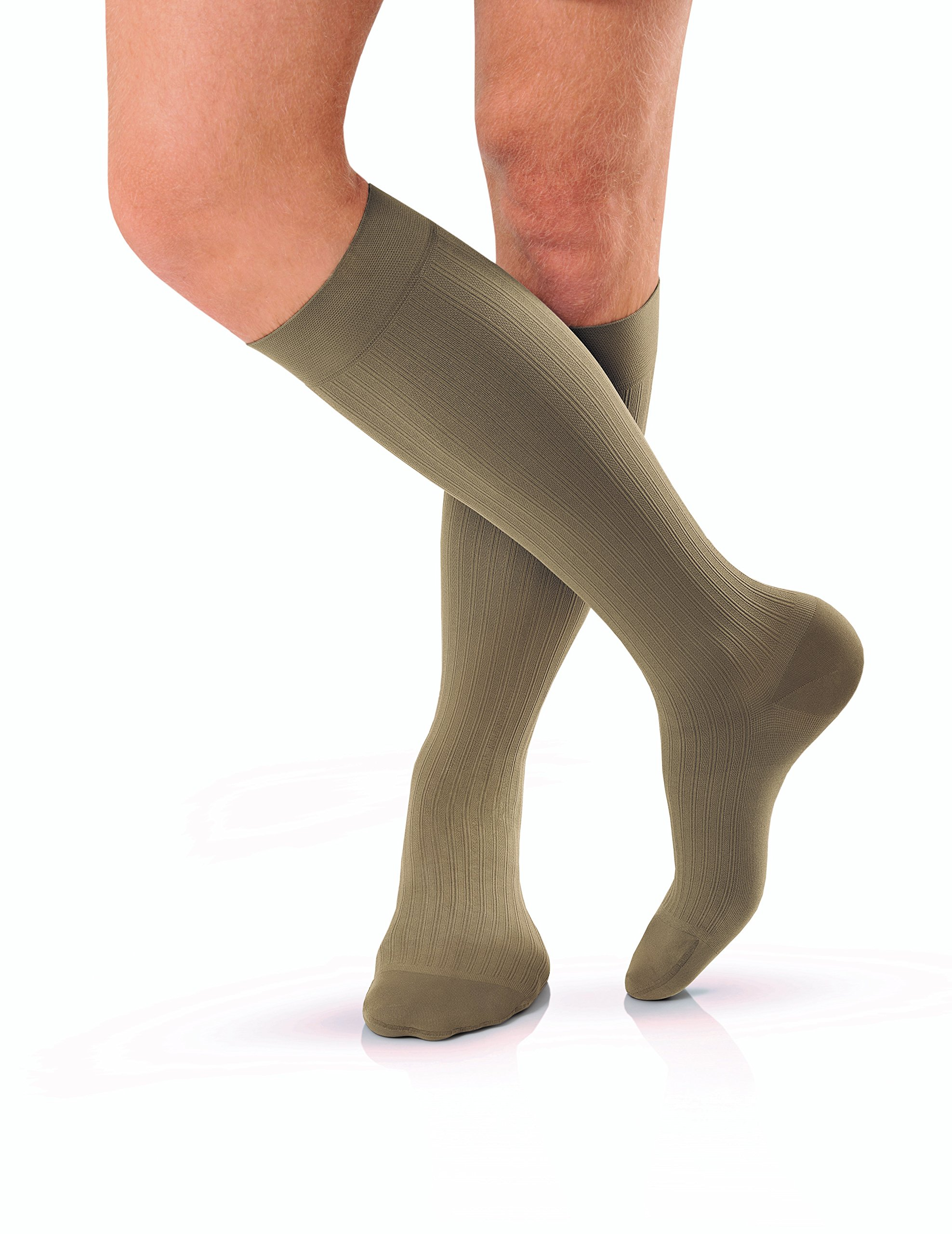 JOBST forMen Knee High 20-30 mmHg Ribbed Dress Compression Socks, Closed Toe, Large, Khaki
