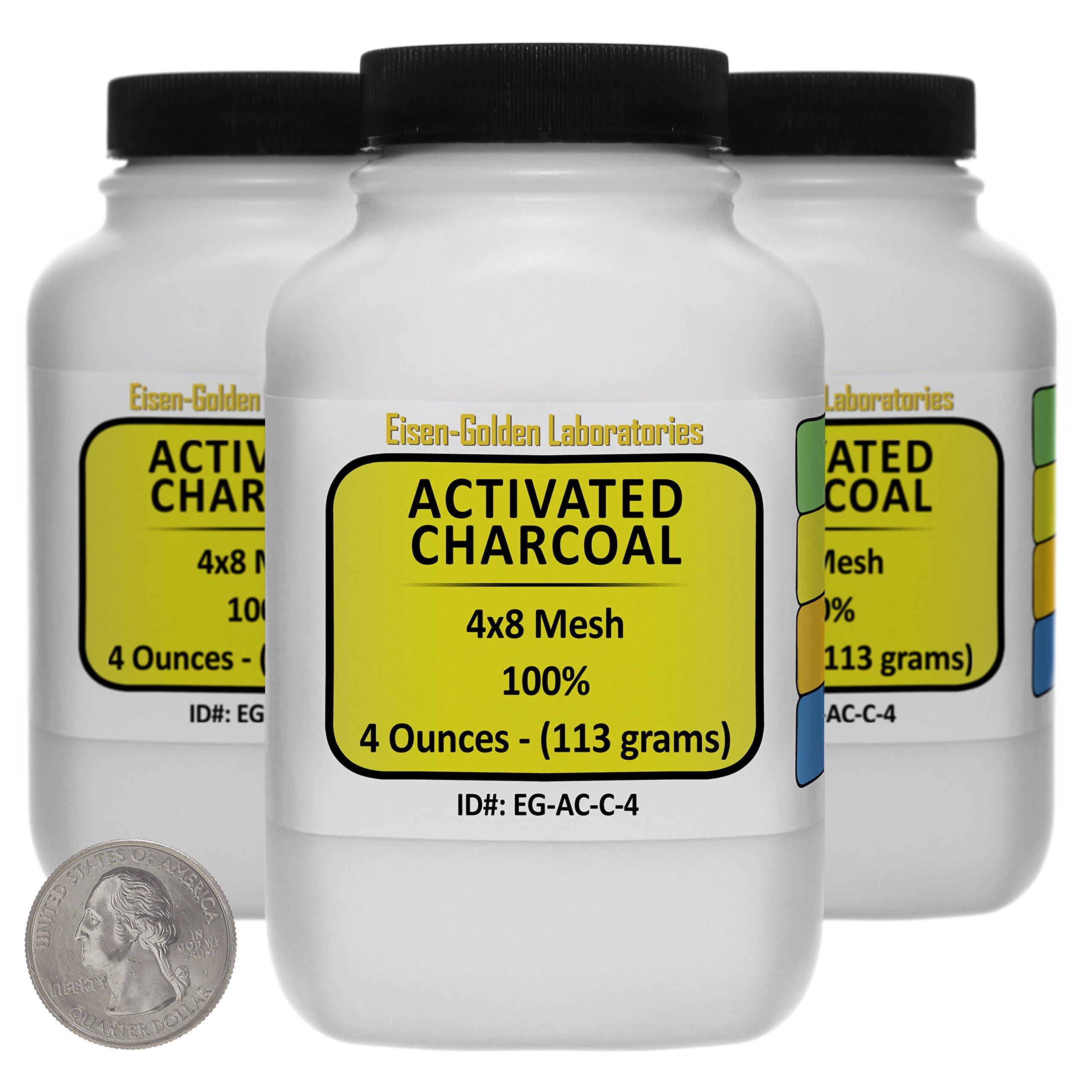 Activated Charcoal [C] 100% ACS Grade Course Granules 12 Oz in Three Space-Saver Bottles USA