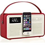 Radio digitale DAB e DAB+ VQ Retro Mk II con FM, Bluetooth, Apple Lightning Dock e Sveglia - rouge