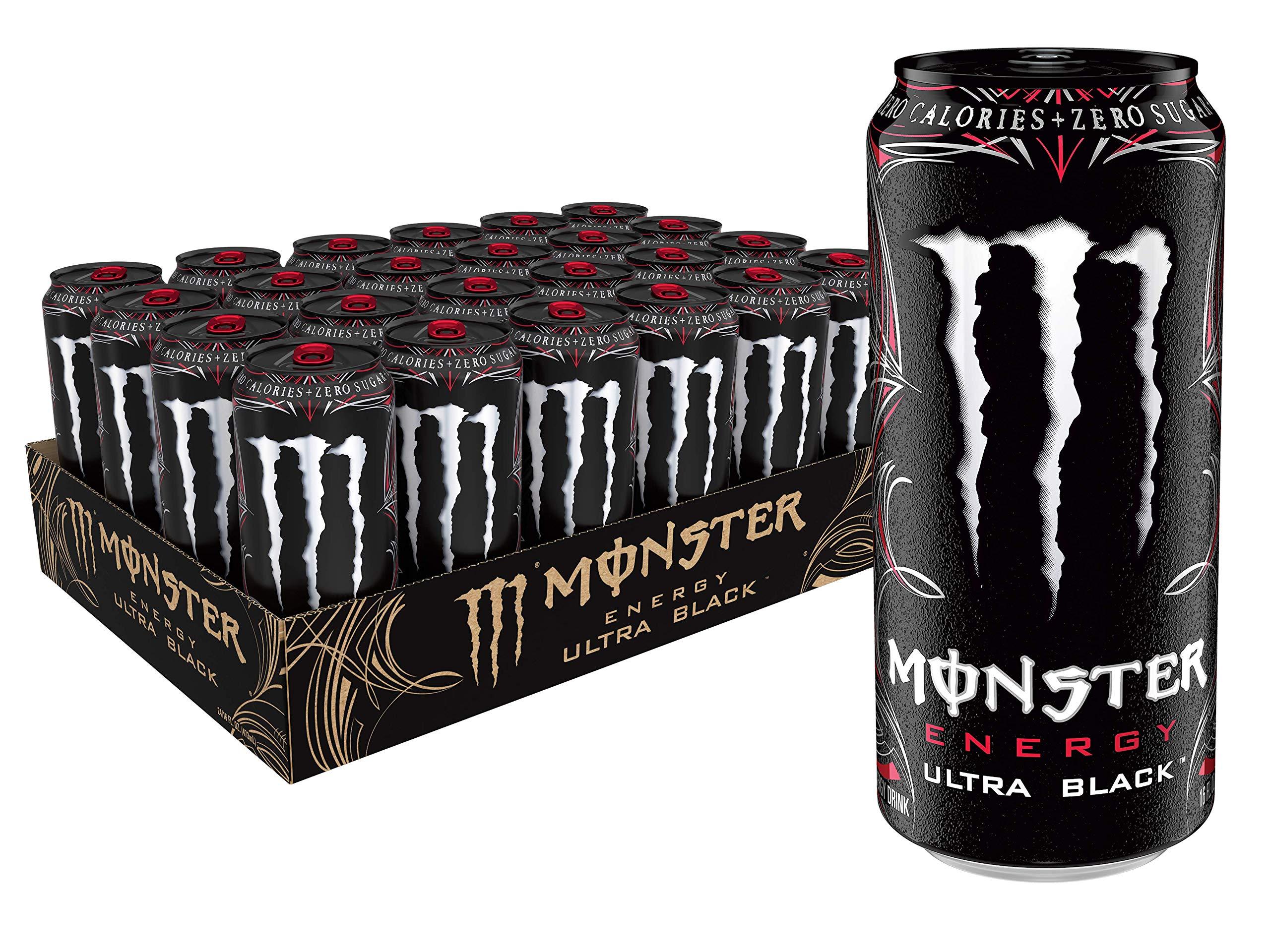 Monster Energy Ultra Black, Sugar Free Energy Drink, 16 Ounce (Pack of 24)