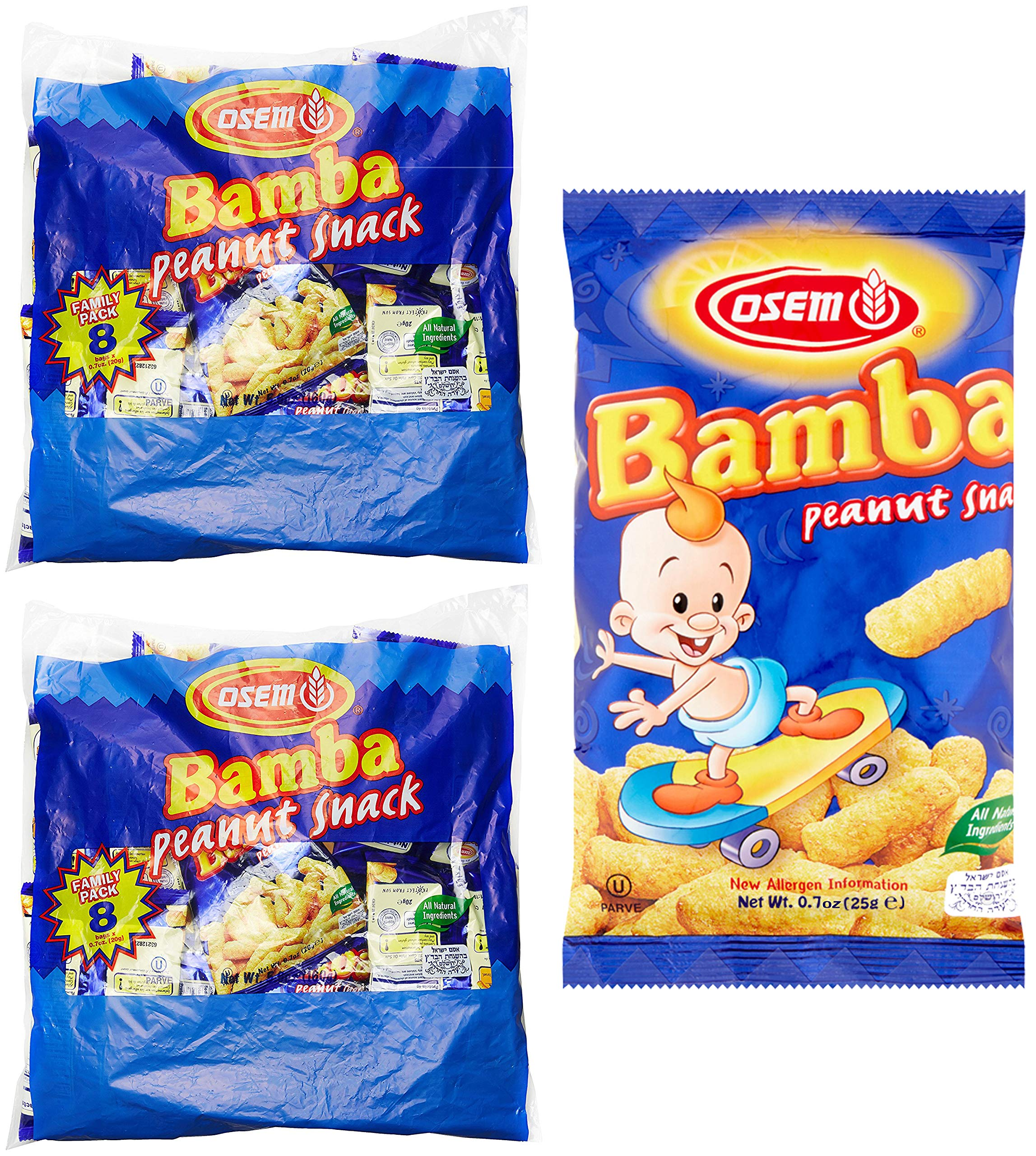 Bamba Peanut Butter Snacks All Natural Peanut Butter Corn Puff Snack (2 Family Packs) (Pack of 16 x 0.7oz Bags) by Osem (Image #1)