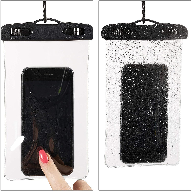 Relaxdays Handyhülle Wasserdicht 2er Set Für Alle Handy Modelle Für Unterwasser Festival Smartphone Hülle Schwarz Garten