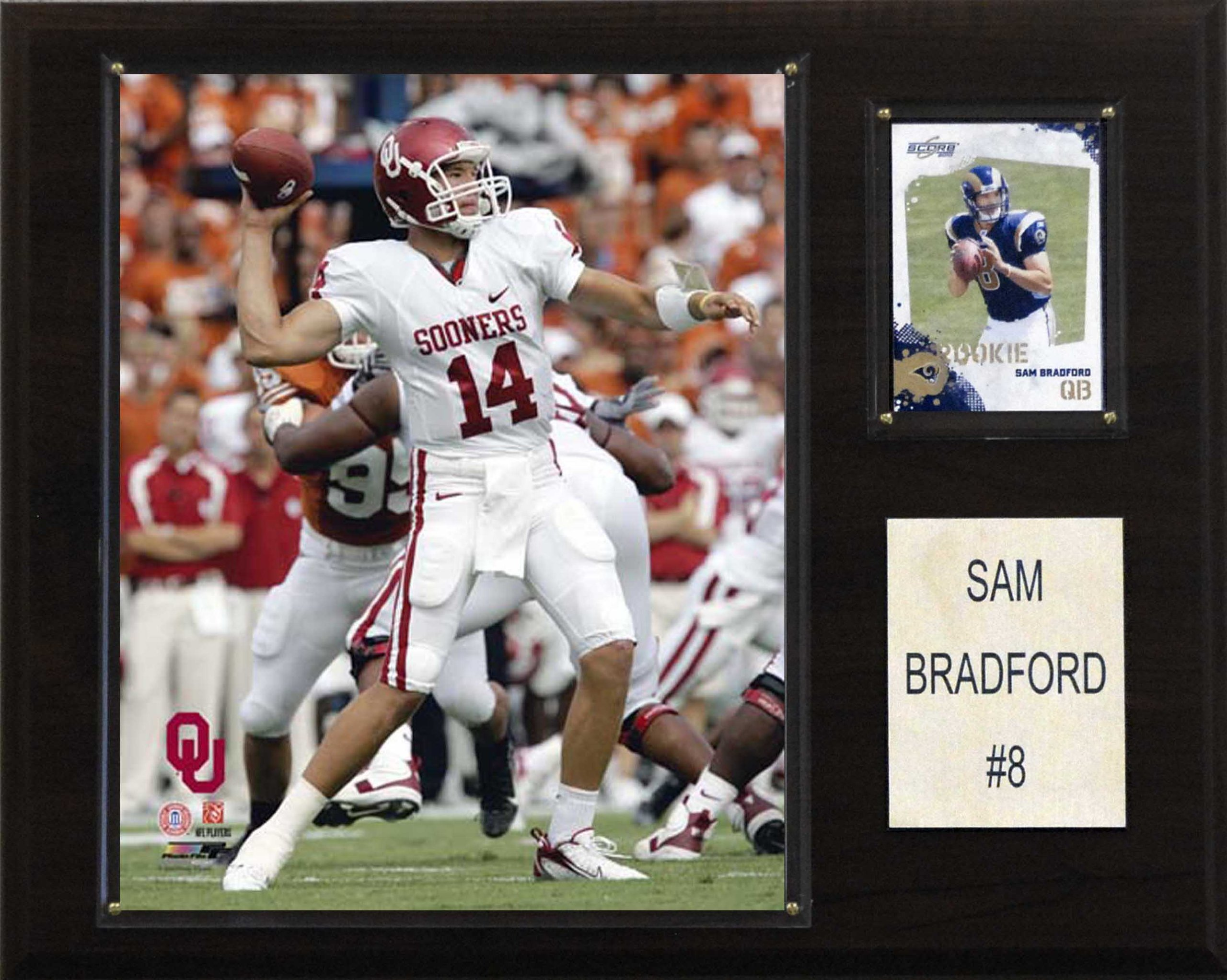 NCAA Football Sam Bradford Oklahoma Sooners Player Plaque