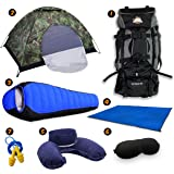 Camping Gear Complete Bundle, CHRISTMAS GIFTS 50% SALE – 80L Backpack, 2 Person Tent, Sleeping Bag, Mat, Travel Pillow, Eye Cover, Ears Plug –Backpacking, Sleeping Outdoors Set by Traveler Fantasy