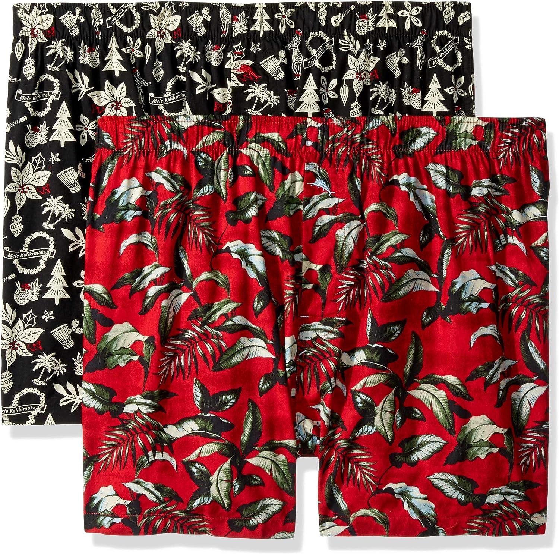 Tommy Bahama Mens 2 Pack Printed Hula Holiday Woven Boxer Short Set