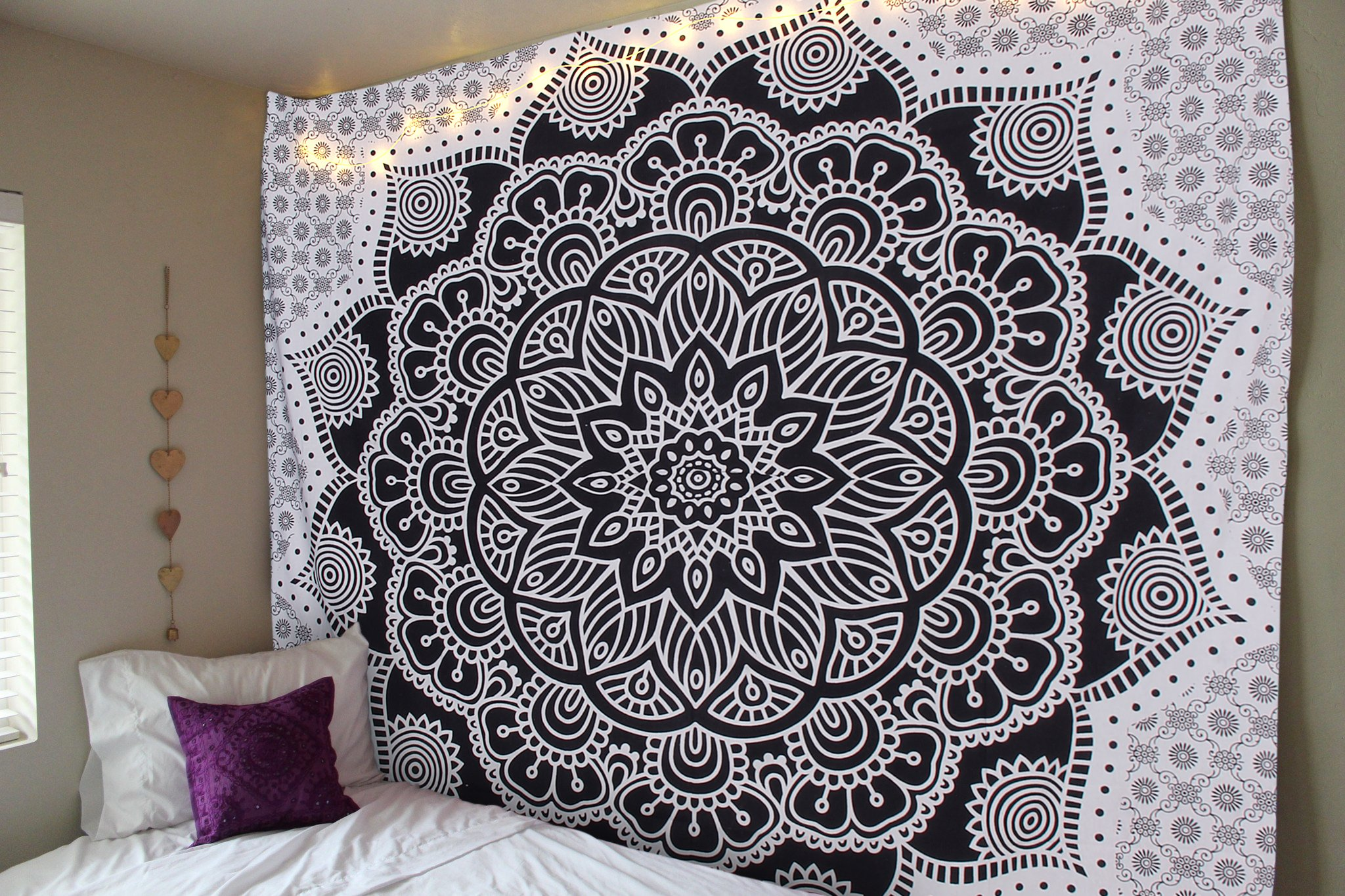 RSG Venture Black and White Mandala Tapestry Black and White ombre tapestry Bohemian Tapestry Mandala Hippie Grey and white Mandala Tapestry Dorm Decor Bohemian Bedspread Bedding Beach Tapestry by