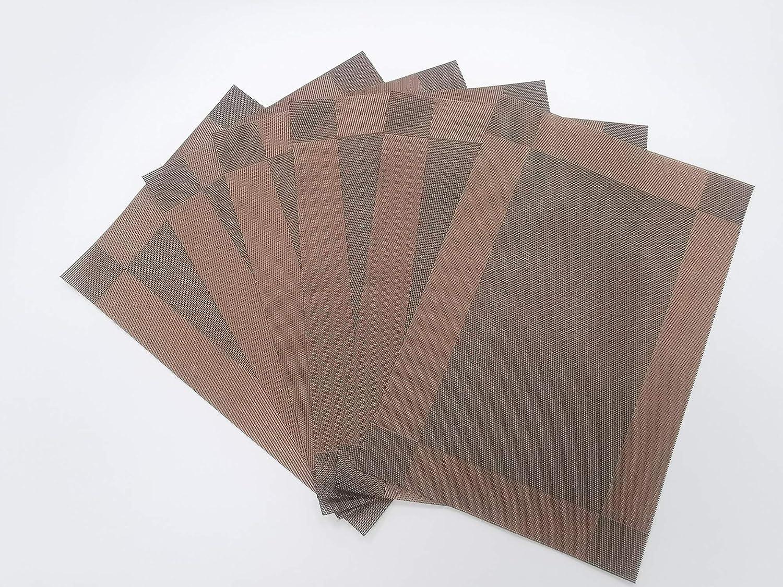 multifunci/ón f/ácil de Limpiar Estera de Mesa Antideslizante Color caf/é estereosc/ópico, 6 Piezas//Set N // A Estera de PVC Engrosada 6 Piezas Aislamiento Estera de Comida Occidental Cocina