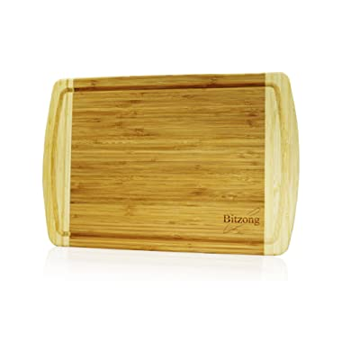 Extra Large Organic Bamboo Cutting Board with Drip Juice Groove and Crack Free Coated Design - Perfect Gift for Kitchen Mom Dad Chopping Vegetable Dicing Meat Slicing and Serving Cheese Salami Food