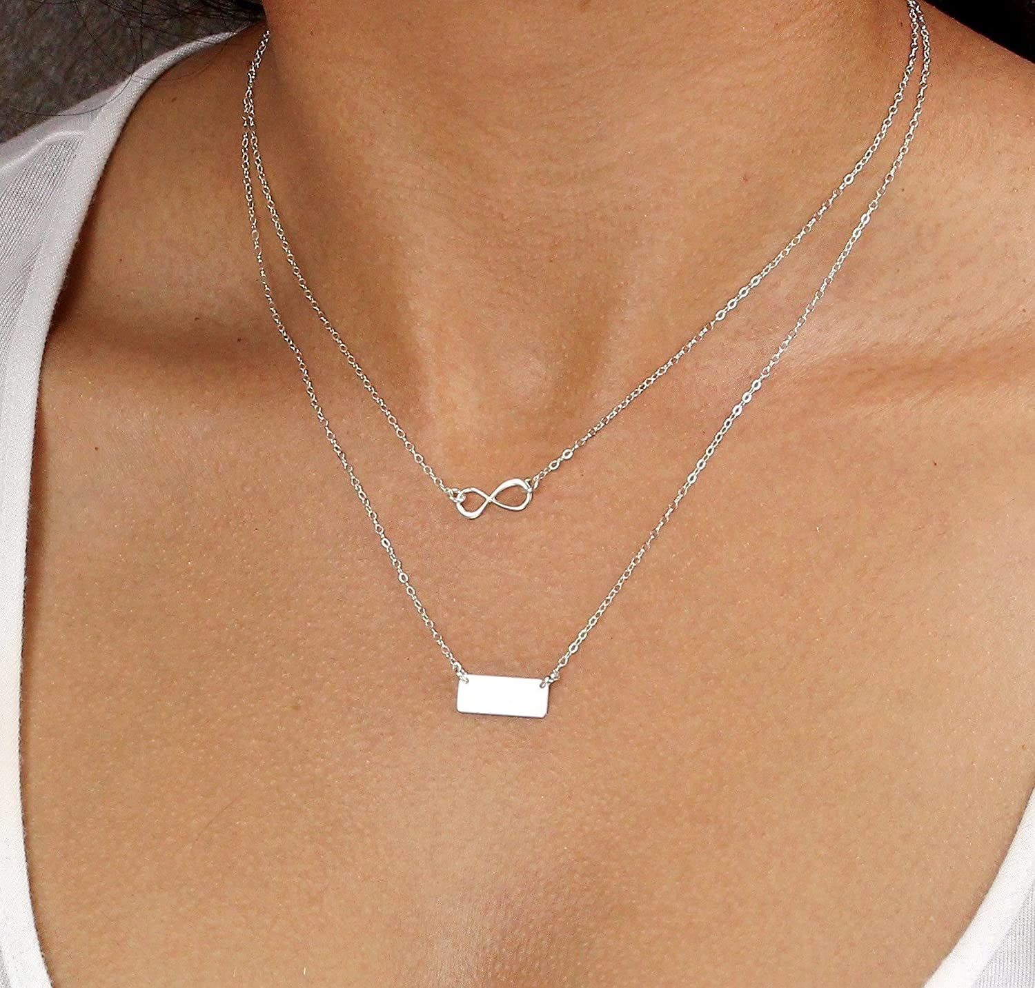 228893612641e Amazon.com: Personalized Bar Layering Necklace Silver, Rose Gold ...