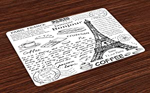 Ambesonne Paris Place Mats Set of 4, Traditional Famous Parisian Elements Bonjour Croissan Coffee Eiffel Tower Print, Washable Fabric Placemats for Dining Room Kitchen Table Decor, Black White