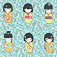 Tissu de coton imprimé | poupées japonaises 'Kokeshi' - rose, jaune orangé, violet bordeaux et anis (tissu bleu turquoise) | Largeur: 155 cm (1 mètre)